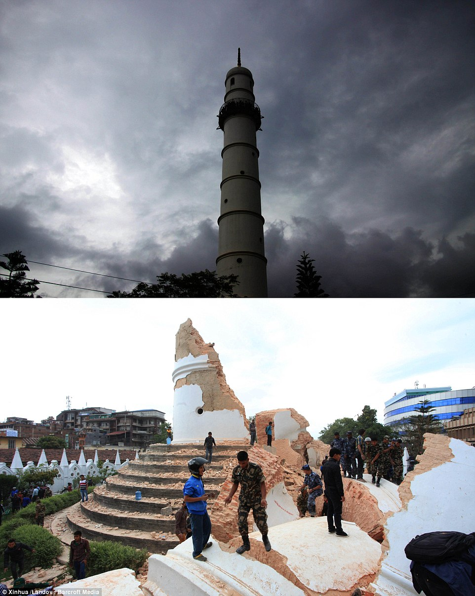 Historic The combo photo shows Dharahara before and after the earthquake in Nepal when an earthquake struck the mountainous country and claimed upwards of 10,000 lives