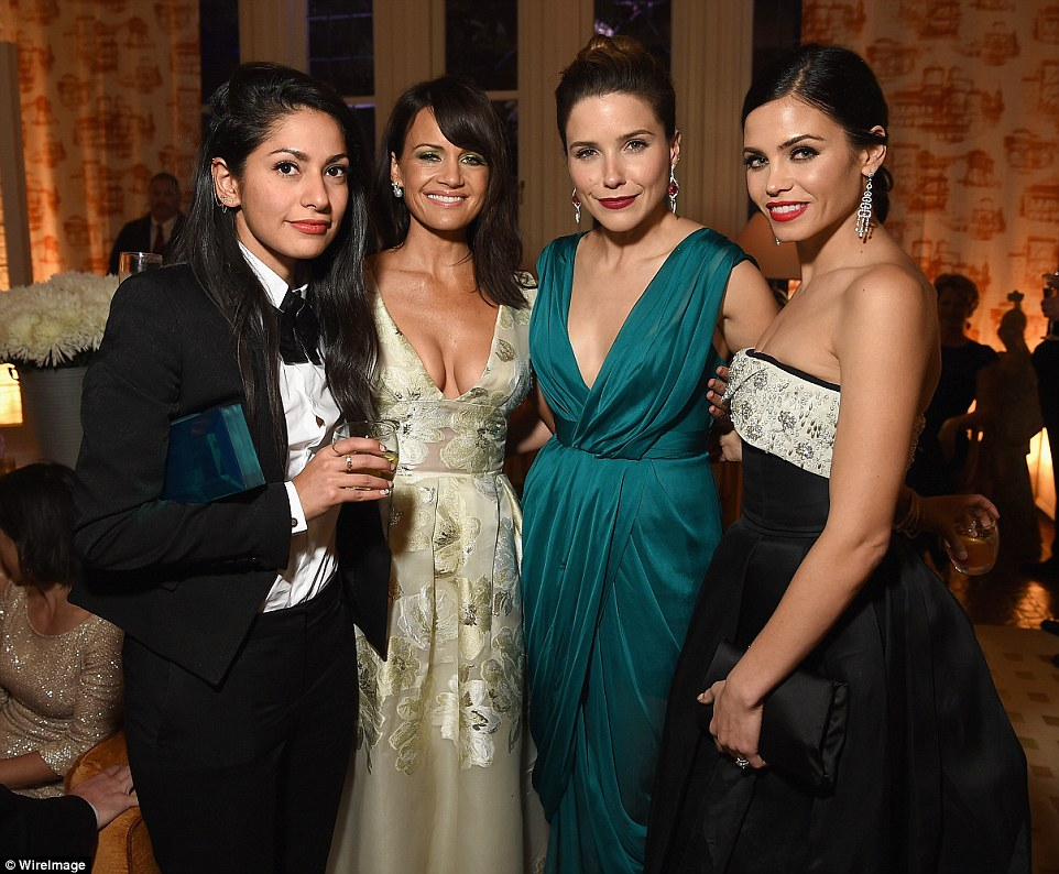 Group shot: Actresses Carla Gugino (centre left) and Jenna Dewan-Tatum (far right) joined in the fun at the prestigious event