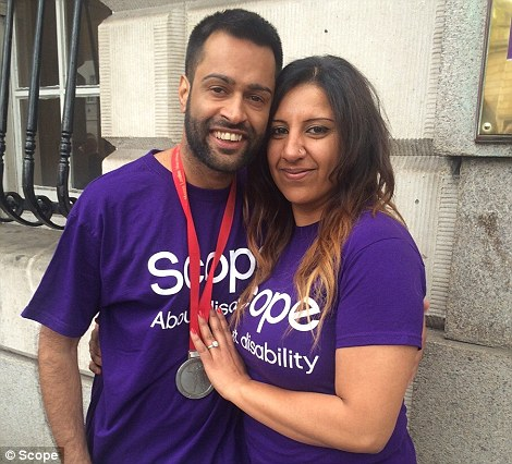 Palwinder Chahal, 33, proposed to girlfriend Pamela, 31, as he approached the finish line of the London Marathon. He said he wanted to 'make a big gesture'