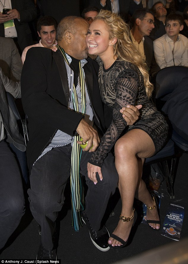Leggy lady: When she wasn't watching prizefighters, Panettiere cosied up to 27-time Grammy winner Quincy Jones
