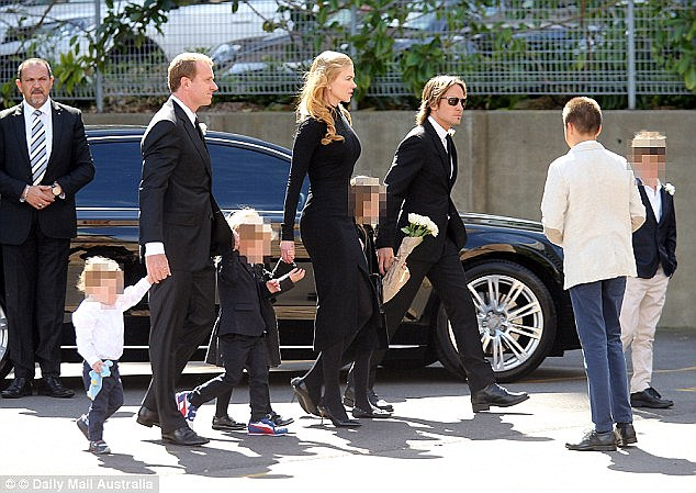 Day of mourning: Antonia's six children Lucia, Hamish, James, Sybella, Nicholas, two, and Alexander, one, attended the funeral along with Nicole's daughters Sunday Rose and Faith