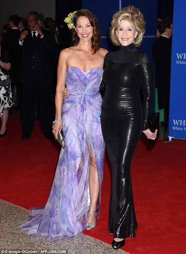 Strong women: Ashley Judd and Jane looked stunning as they stopped to pose for photos together upon arriving at the White House Correspondents' Dinner on Saturday