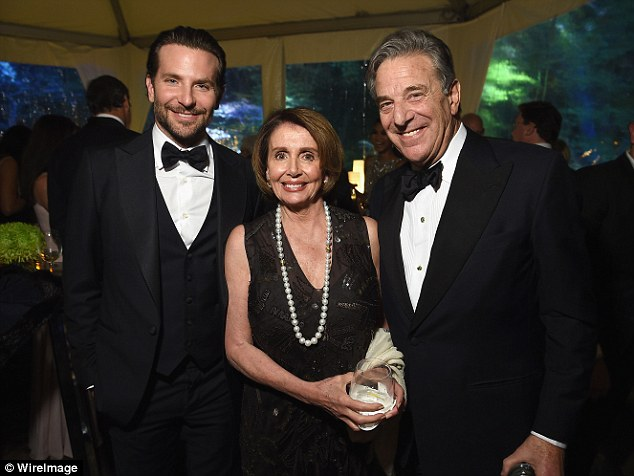 Chatting politics: Bradley Cooper joined Nancy Pelosi, the Minority Leader of the United States House of Representatives, and her husband Paul Pelosi