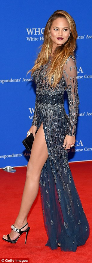Beautiful in blue: The 29-year-old model and TV personality had arrived in style as she made the most of her stunning dress upon arriving on the red carpet