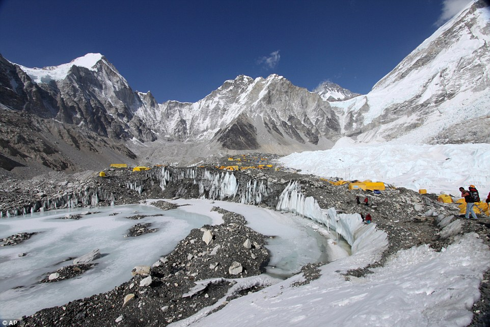 Mount Everest basecamp in Nepal pictured on April 11 before the avalanche hit, killing at least 17 people