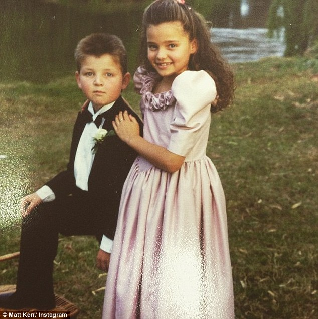 Lovely in lavender! The future supermodel's good genetics are a standout of a flashback photo, recently posted to Instagram by her brother Matt Kerr, even in the 80s dress with big puffy sleeves
