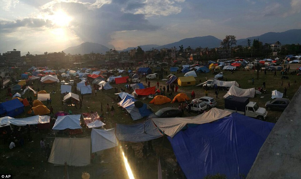 A sea of tents is seen in the Chuchepati area of the Kathmandu Valley after residents fled what remained of their homes to set up camp outside