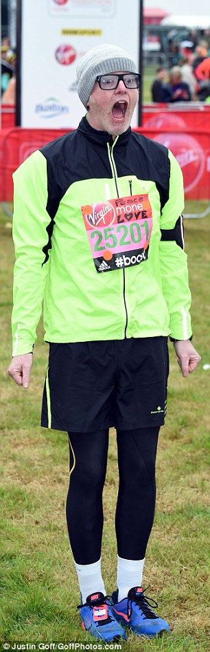 Ready, set, go! Chris Evans looked a little apprehensive as he got ready for the 26 mile marathon