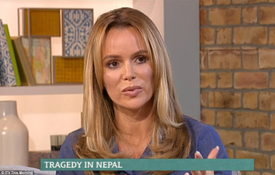 Numb: Amanda Holden has told how her sister is trapped on Mount Everest after the devastating earthquake