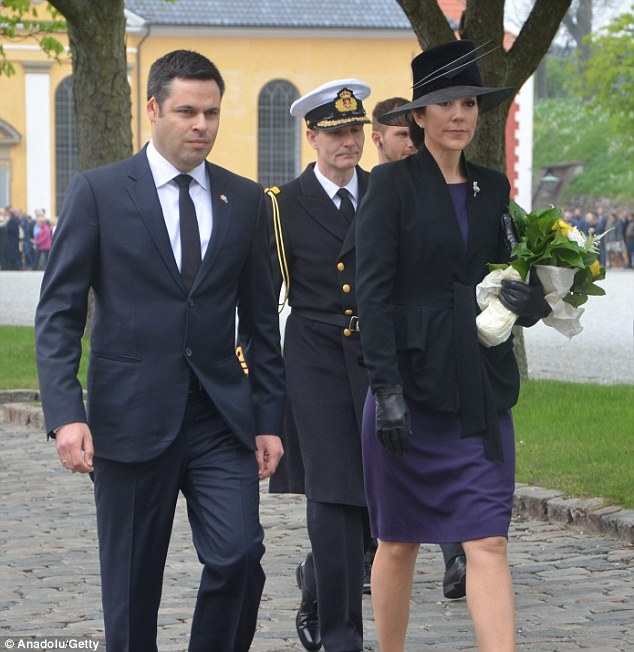 Striking: Crown Princess Mary attended an Anzac Day ceremony in Copenhagen over the weekend