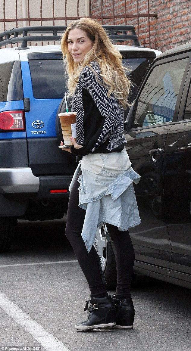 Energy boost: Allison Holker, who is partnered with Riker Lynch, picked up an iced coffee