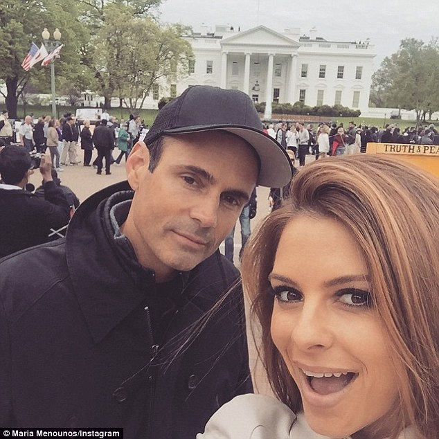 Tourists! The couple had the chance the feast their eyes on the White House on Saturday