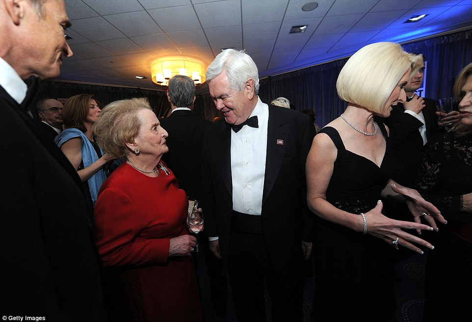 Former Secretary of State: Madeleine Albright (left) and politician Newt Gingrich attend The Washington Post's pre-dinner reception