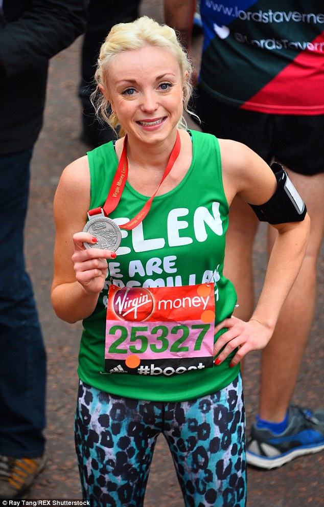 Done! Helen celebrated a time of just over four hours when she ran forMacmillan Cancer Support