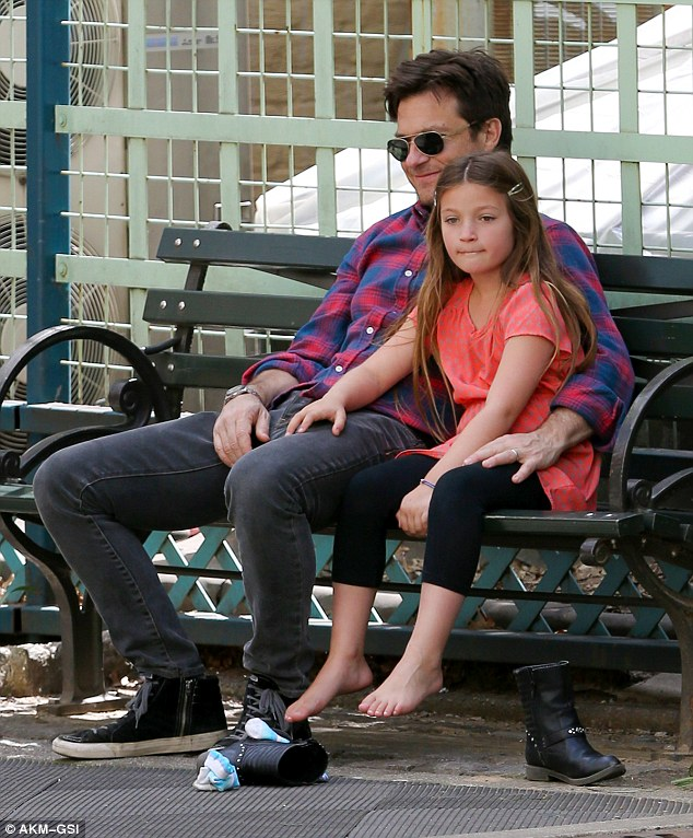 Rest: At one point, they took a break to relax on a bench, with Francesca even taking her shoes off
