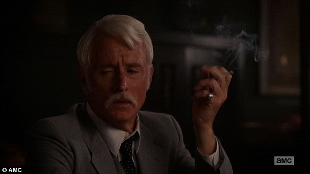Losing it: Roger Sterling took it hard as he learned the news from McCann