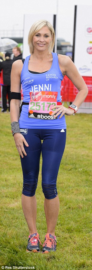 Taking on the challenge: London Marathon regular Jenni Falconer (left) and Call the Midwife star Helen George are also running today