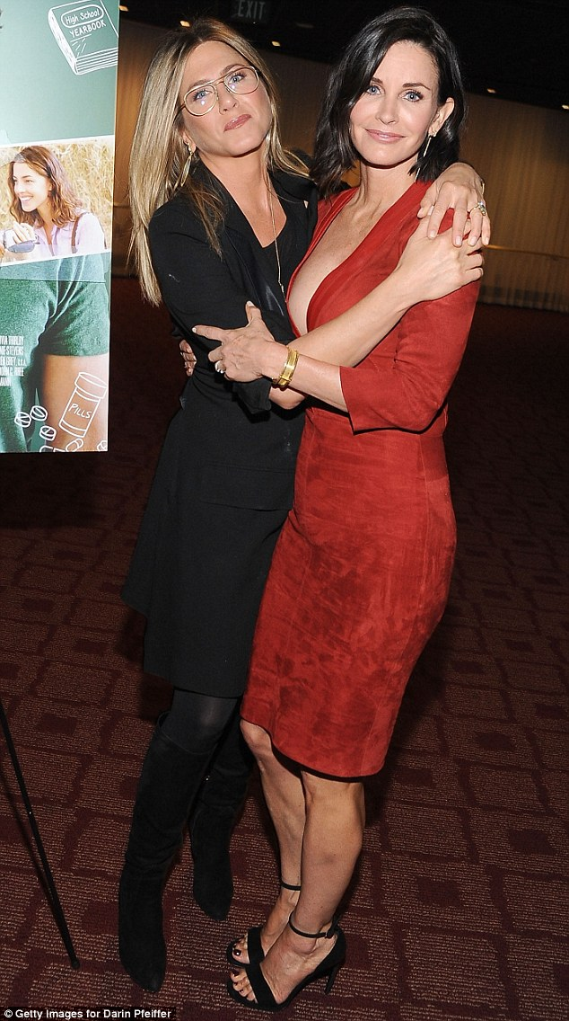 Still great Friends: Courteney Cox was joined by her pal Jennifer Aniston as she celebrated the premiere of her directorial film debut Just Before I Go in Los Angeles on Monday