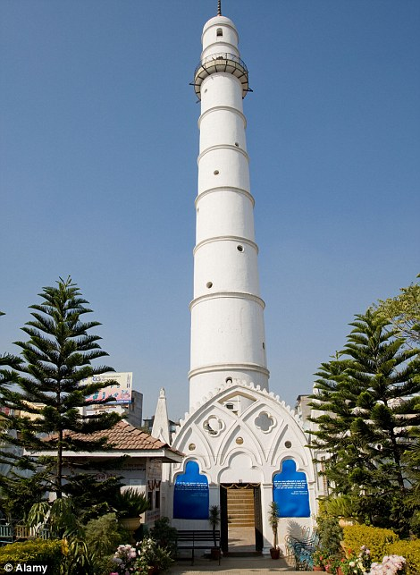 The historic, 200ft Dharahara tower in central Kathmandu before the earthquake