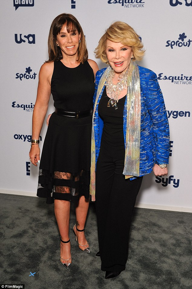 Family: Melissa pictured with comic legend Joan - who passed away on September 4, 2014 - in May 2014