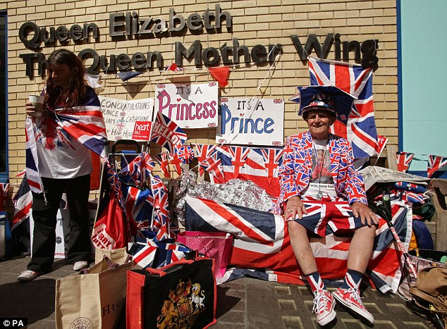 Royal fan: Terry Hutt (right) waits last week for the Duke and Duchess of Cambridge's second child to be born