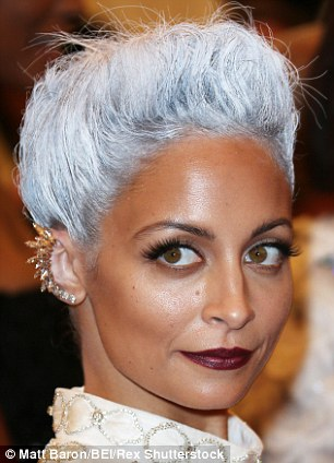 Nicole Richie teams a Snow Queen up-do with Ryan Storer's £141 rose gold crystal collar at the Met Ball