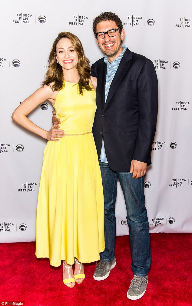 Mellow in yellow: Emmy Rossum brightened up the red carpet discussion of Mr. Robot beside her boyfriend Sam Esmail in New York on Sunday