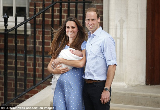 Previous royal birth: The Duke and Duchess of Cambridge leave the Lindo Wing of St Mary's Hospital in Paddington, central London, in a proud moment with their newborn  son Prince George in July 2013
