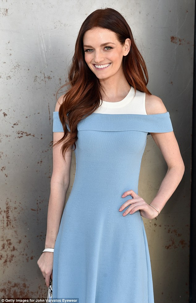 Model behavior: Supermodel and heiress Lydia Hearst, 30, donned a light blue off-the-shoulder A-line dress that had a white panel and jewel collar