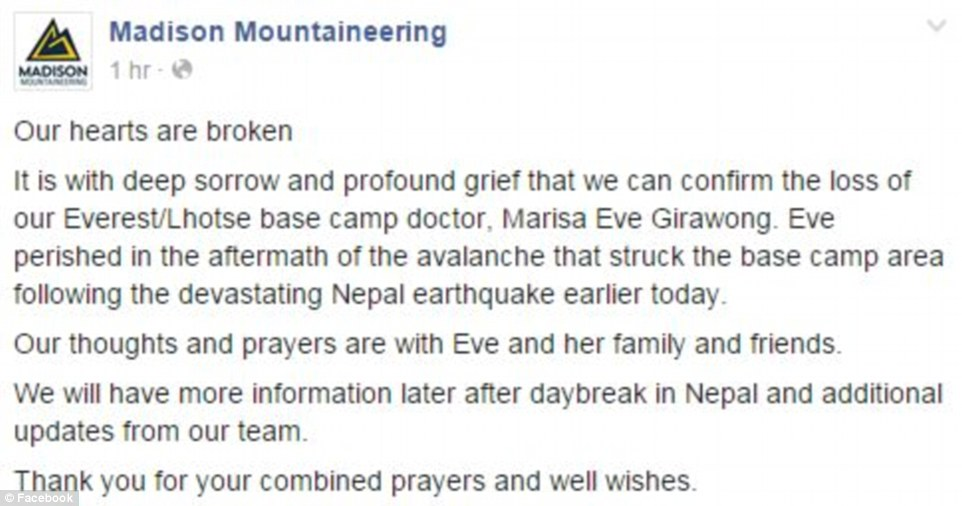 A post on the Madison Mountaineering Facebook page confirmed Miss Girawong's death. As many as 18 people are thought to have died on the mountain yesterday