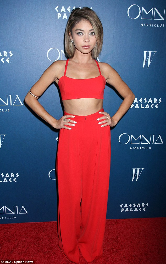 Slender: Sarah Hyland showed off her tiny waist at the second night of opening celebrations for Omnia Nightclub at Caesars Palace in Las Vegas