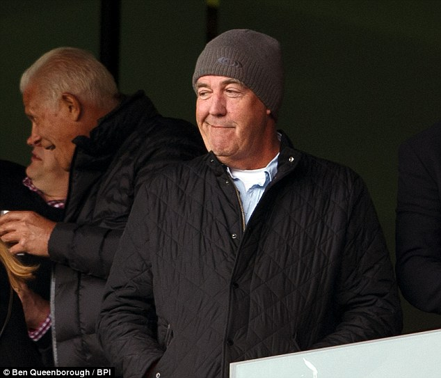 Good sport: Jeremy Clarkson attended Arsenal v Chelsea at London's Emirates Stadium on Sunday