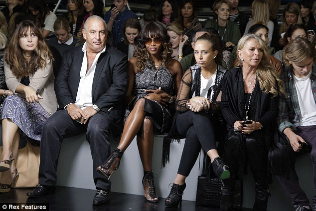 Sir Philip Green, left, next to model Naomi Campbell (centre). daughter Chloe (centre right) and wife Lady Tina Green (right). Their fashion empire saw them land 22nd out of 1,000 included in the list with a wealth of £3.5bn
