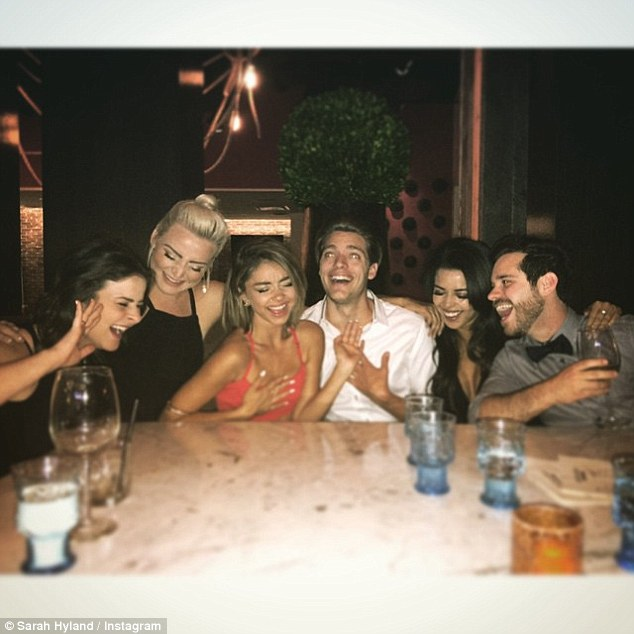 Good times: The actress shared this snap from Vegas on Sunday alongside boyfriend Dominic Sherwood and pals