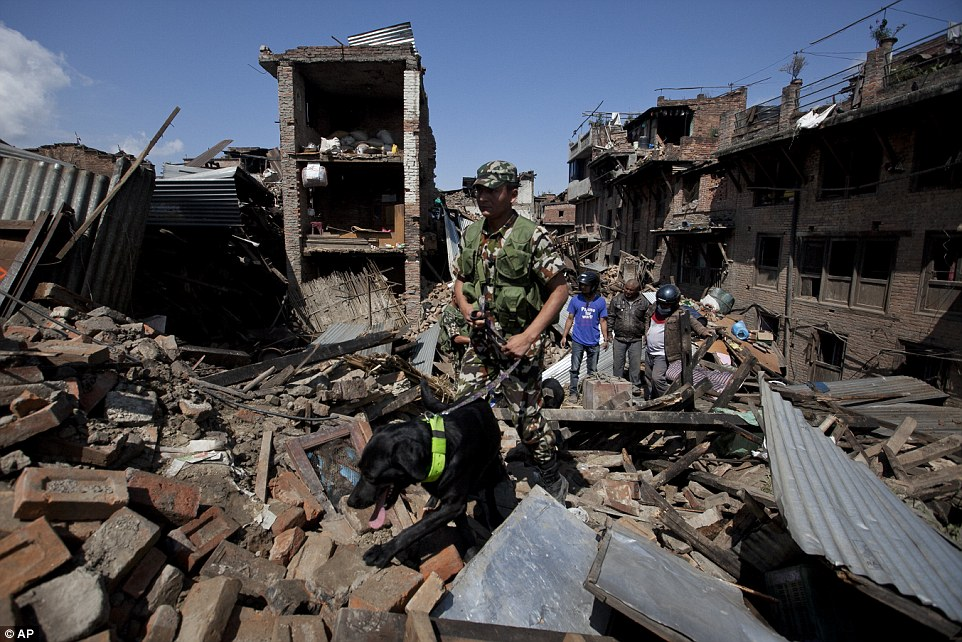 Race against time: A rescue team with a sniffer dog search for survivors among the rubble in Bhaktapur on the outskirts of Kathmandu after a devastating earthquake struck the region on Saturday