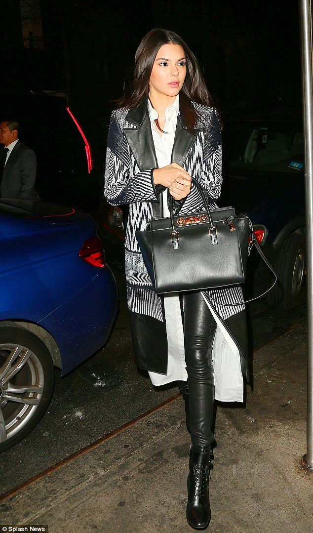 Leggy in leather: Kendall Jenner paraded her long legs in leather trousers on Sunday in New York City as she attended Gigi Hadid's 20th birthday party