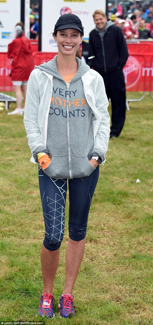Model behaviour: Christy Turlington also ran the London Marathon on Sunday, raising money for her own charity Every Mother Counts