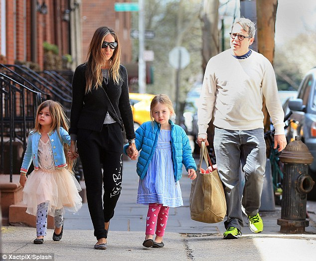 Sunday funday: Sarah Jessica enjoyed a sunny day with husband Matthew Broderick and their twins Marion and Tabitha, who looked cute in their colourful outfits