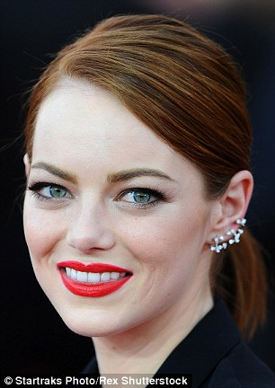 Bold red lipstick paired with a £3,000 Repossi gives Spider Man actress Emma Stone an edgy look