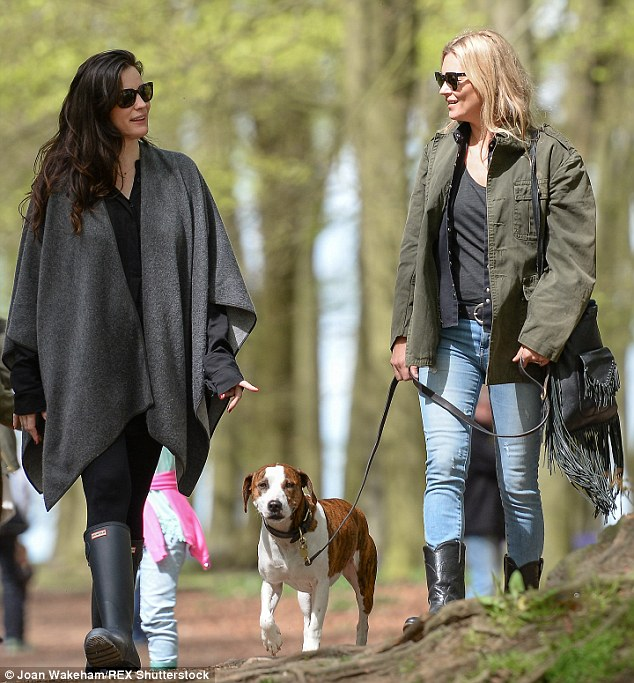 Taking a stroll: Liv and Kate were engrossed in conversation as they walked through the woods