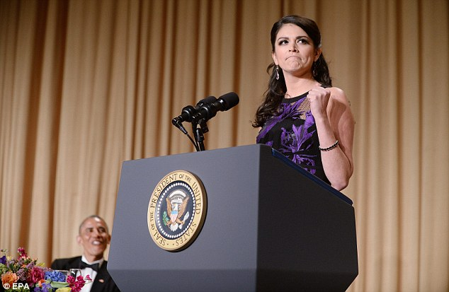 Cecily Strong, (center) the Saturday Night Live cast member and host of the White House Correspondents Dinner,skewered Hillary Clinton, Barack Obama and Republican hopefuls during her 20-minute speech