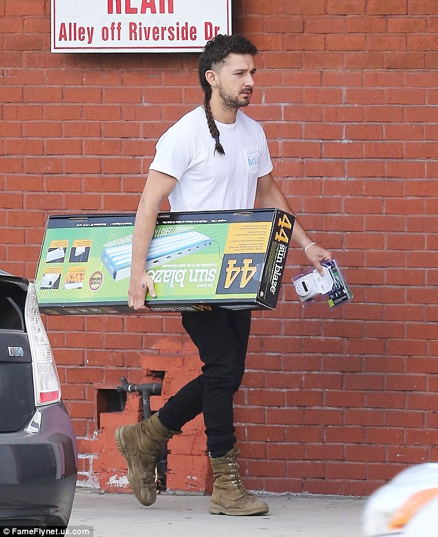 Green fingered: Shia LaBeouf was spotted leaving a hydroponics store in Sherman Oaks, California on Thursday, laden down with supplies