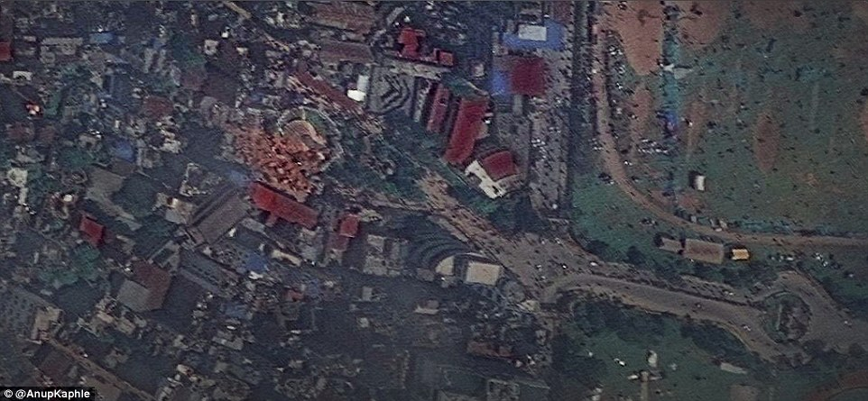 Wiped out: Incredible before-and-after satellite images show the extent of the devastation across Kathmandu