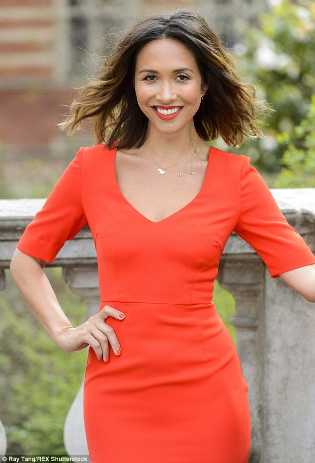Zesty! The 37-year-old caught the eye in gorgeous burnt orange figure-hugging dress
