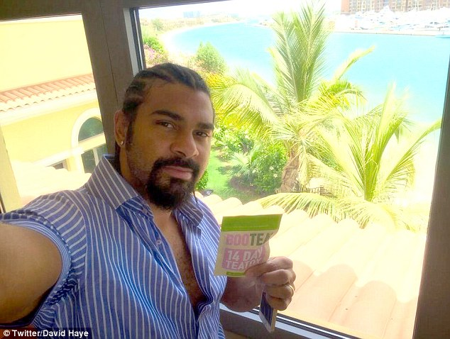 Former heavyweight boxing champion David Haye was stopped at Dubai International Airport and questioned over allegations that he wrote a £341,000 cheque which bounced. He is pictured during his trip to Dubai