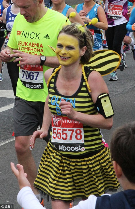 One woman dressed head-to-toe as a bumble bee for the race