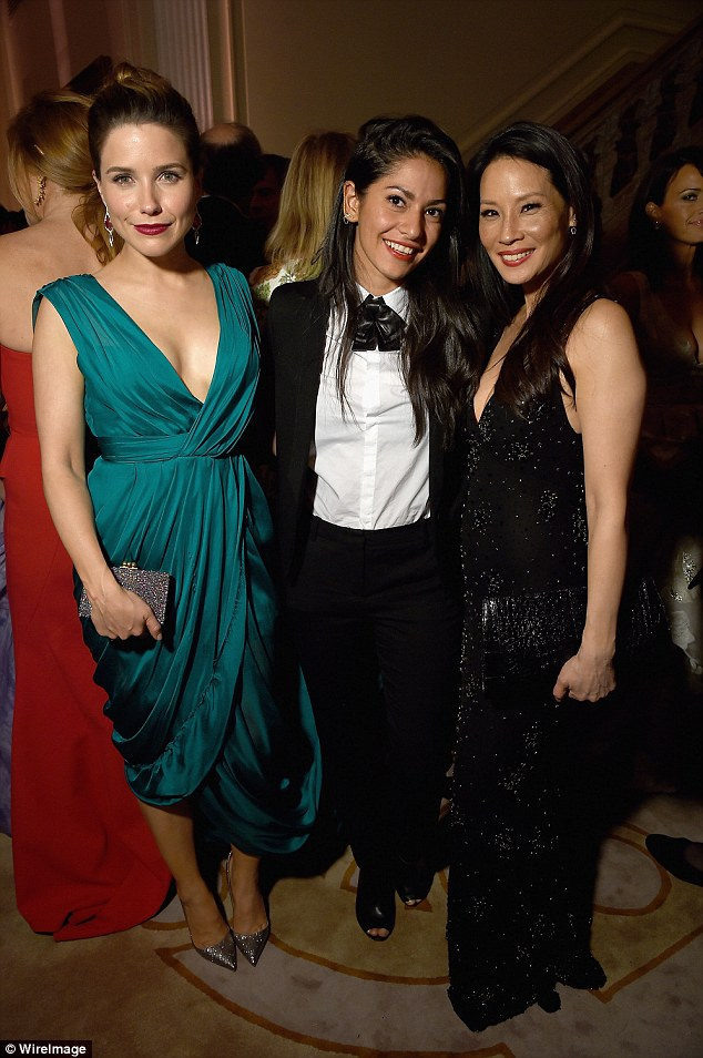 Catching up: Sophia Bush posed alongside Lovesocial CEO Azita Ardakani (centre) and Lucy Liu (right)