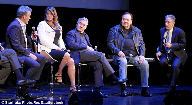 Jon Stewart, far right, hosted a Q&A with the film's star during which Ray Liotta, far left, recalled meeting the real Henry Hill, who thanked him for 'not making me look like a s***bag'