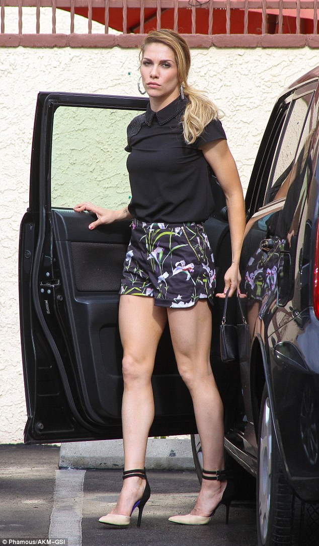 Leggy look:Allison Holker looked ready for summer in floral print mini shorts