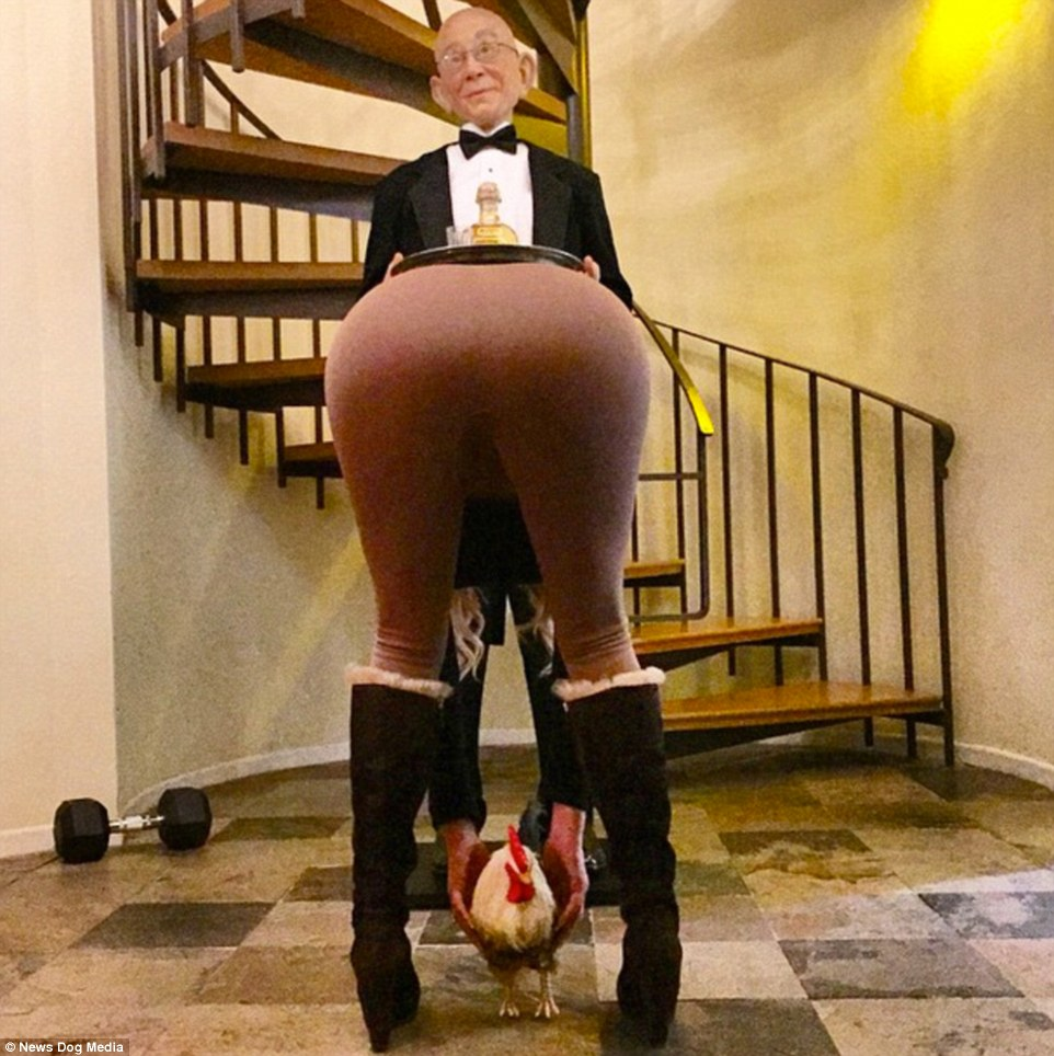 Bizarre snap: One of the photos sees a woman bending over to pick up a hen in front of a butler presenting a bottle of liquor on a tray